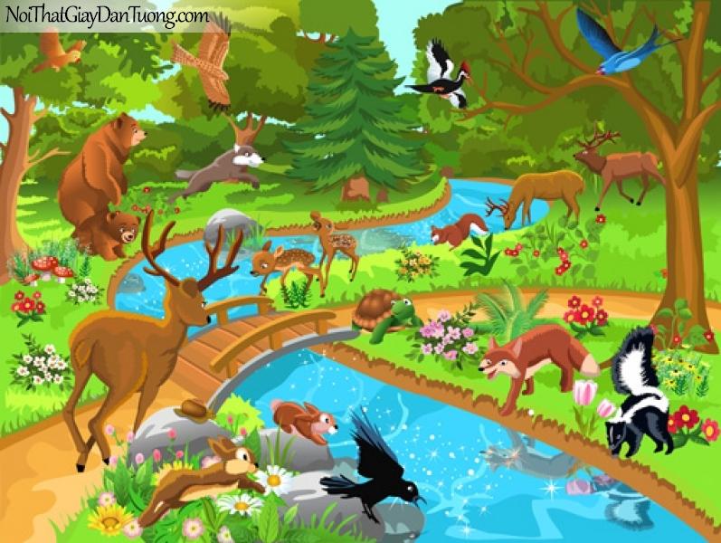 Tranh dán tường dành cho bé yêu, những con thú hoang dã trong khu rừng nhiệt đới bên con suối chảy qua rừng DA4127