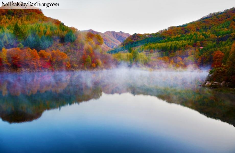Tranh dán tường, hồ nước và núi đạ dạng phong phú DA0268