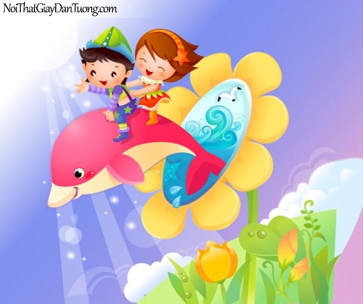 Tranh dán tường dành cho bé yêu, cùng bé cưỡi những chú cá heo khám phá đại dương DA4060
