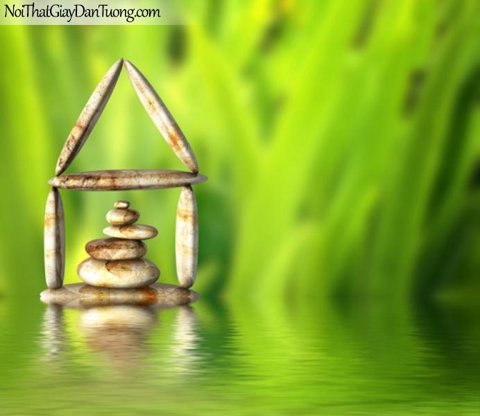 Tranh dán tường, những viên đá nhỏ xinh xắn được xếp thành hình ngôi nhà trên mặt nước DA0329
