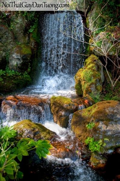 Tranh dán tường, thác nước chảy giữa những khối đá lớn DA3033