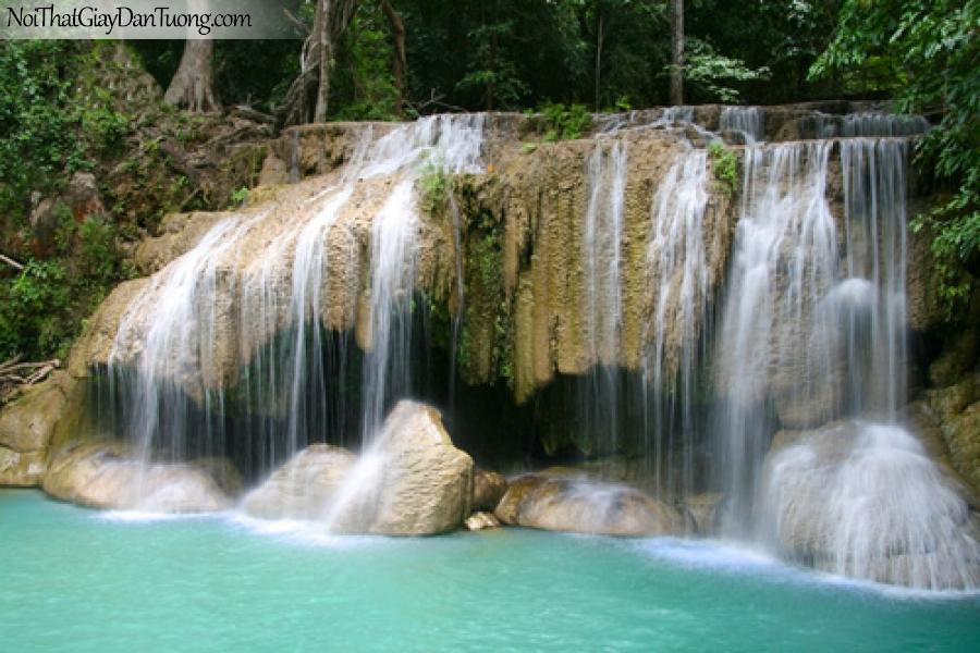 Tranh dán tường, thác nước hùng vĩ chảy trên những mỏm đá kỳ thú DA3032
