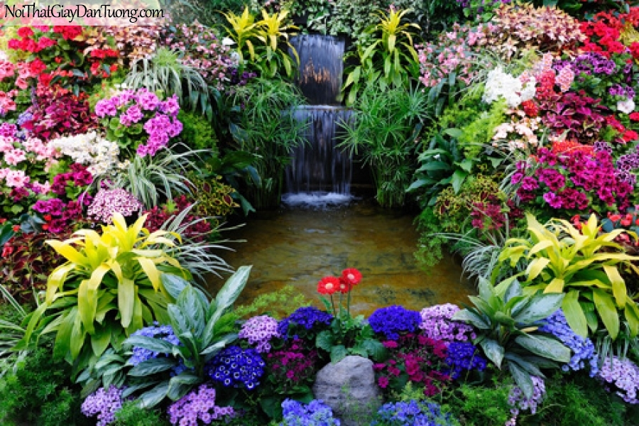 Tranh dán tường, vườn hoa khoe sắc bên thác nước DA3042