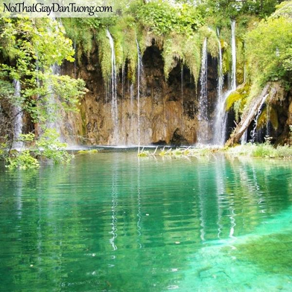 Tranh dán tường, cảnh đẹp thơ mộng của thác nước chảy từ rừng cây xuống DA3060