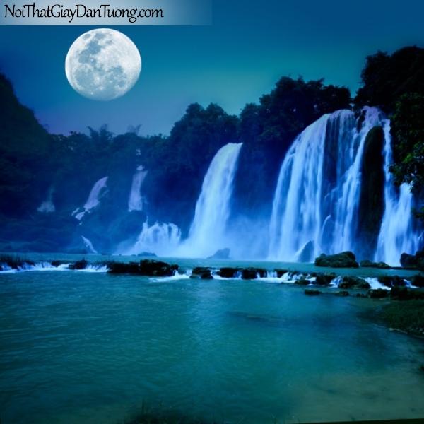 Tranh dán tường, những thác nước dưới ánh trăng đầy thơ mộng DA3054