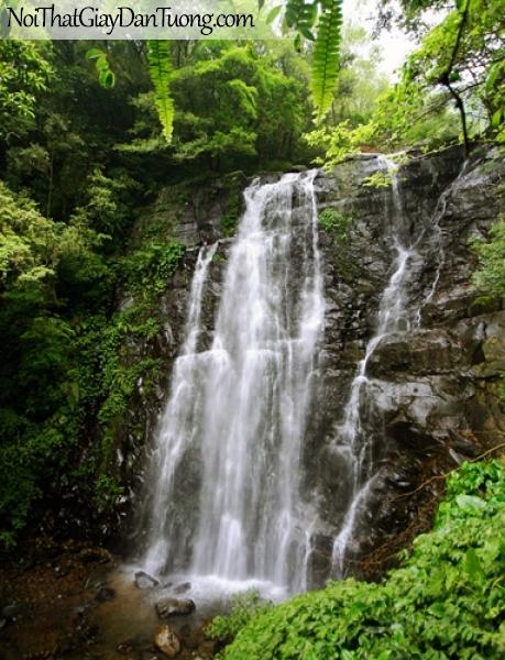 Tranh dán tường, thác nước chảy trên những khối đá lớn thành nhiều tầng DA3043