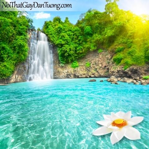 Tranh dán tường, thác nước hùng vĩ giữa những cây xanh dưới ánh mặt trời và hồ nước DA3049