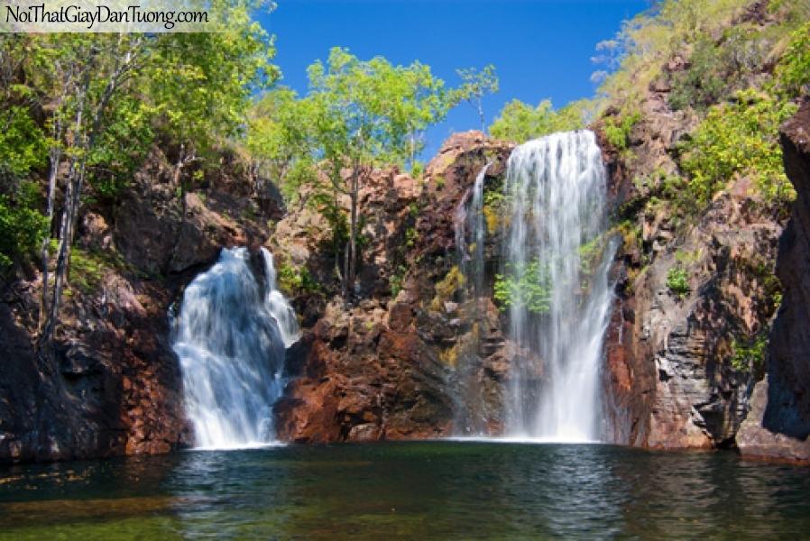Tranh dán tường, thác nước hùng vĩ từ trên cao chảy xuống DA3044