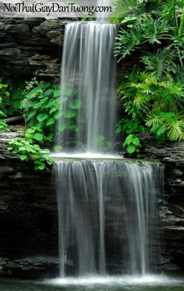 Tranh dán tường, thác nước trắng xóa nhiều tầng với cây xanh xung quanh DA3053