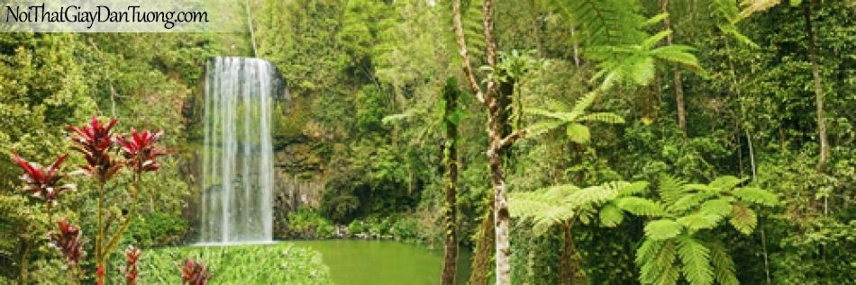 Tranh dán tường, thác nước trong rừng cây xanh DA3061