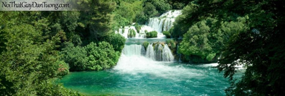 Tranh dán tường, thác nước xuôi theo rừng cây với hồ nước xanh DA3064