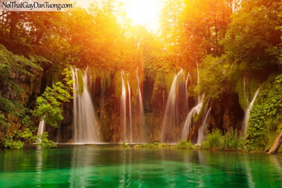 Tranh dán tường, vẻ đẹp của thác nước mê hồn dưới ánh hoàng hôn DA3066
