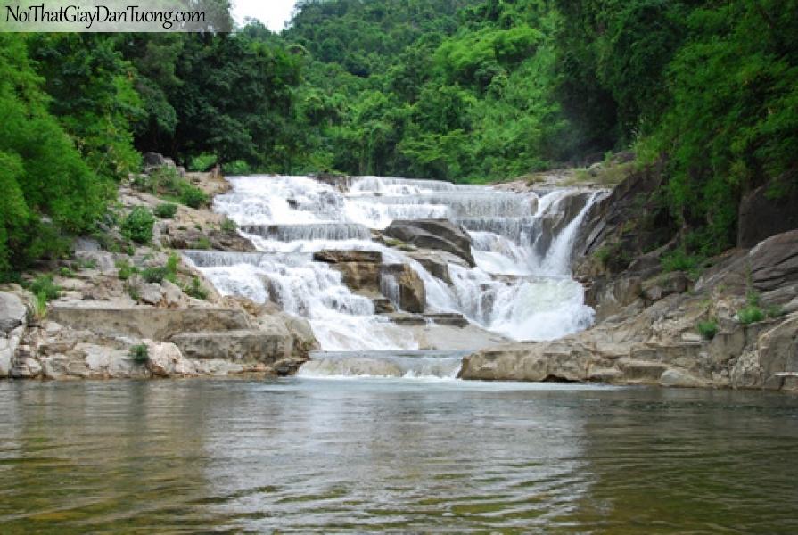 Tranh dán tường, sự ngỡ ngàng của thác nước chảy từ rừng xanh DA3076