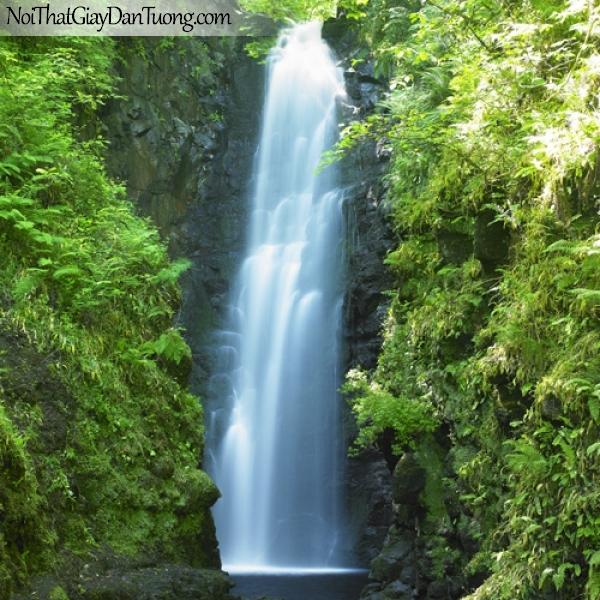 Tranh dán tường, thác nước hùng vĩ chảy từ trên núi cao xuống thung lũng DA3077