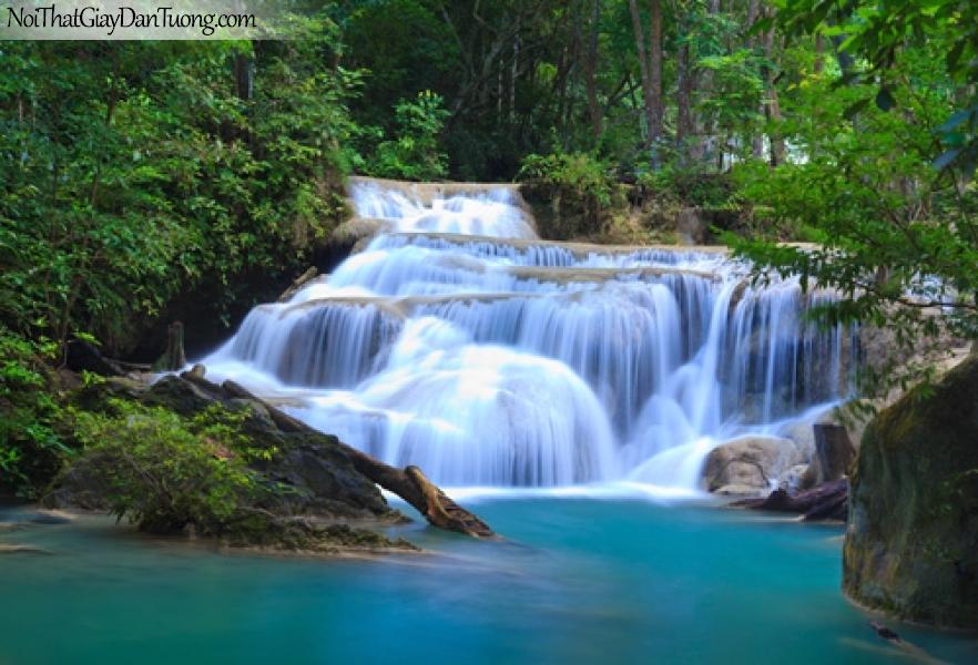 Tranh dán tường, thác nước chảy theo từng bậc tuyệt đẹp trong rừng xanh DA3092