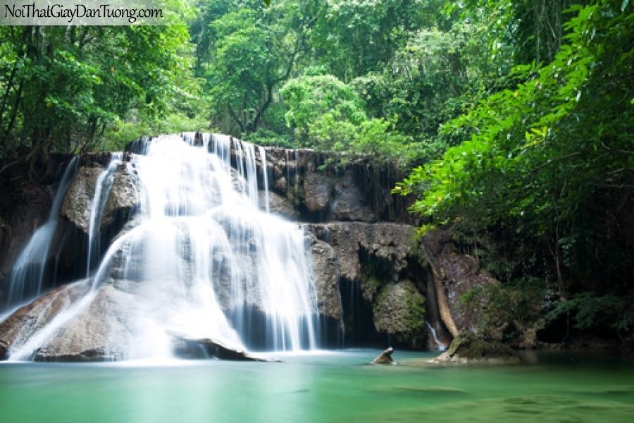 Tranh dán tường, thác nước chảy trên những mỏm đá hùng vĩ giữa rừng xanh DA3093