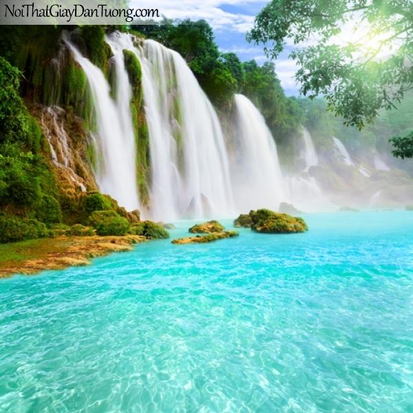 Tranh dán tường, thác nước hùng vĩ chảy từ trên núi cao với dòng nước xanh biếc DA3082