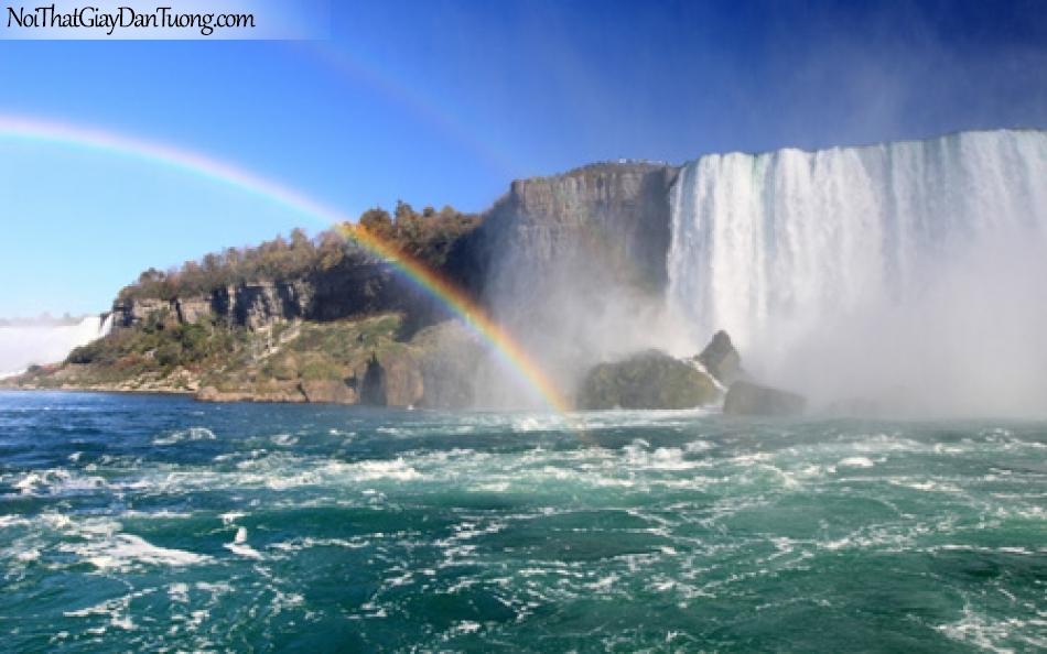 Tranh dán tường, thác nước hùng vĩ chảy từ trên núi cao xuống dòng sông với 7 sắc cầu vồng DA3083