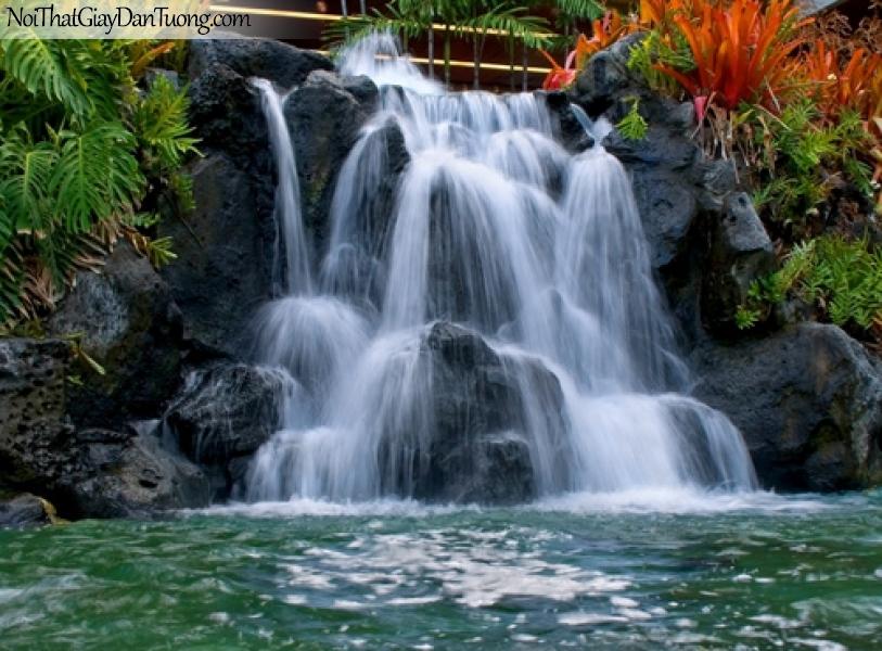 Tranh dán tường, vẻ đẹp của thác nước tư nhiên trên những khối đá DA3094
