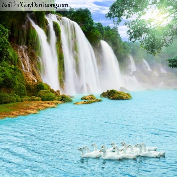 Tranh dán tường, vẻ đẹp hùng vĩ của thác nước chảy từ núi cao DA3097