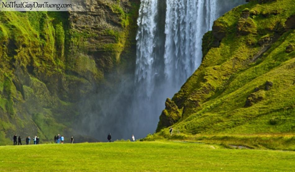 Tranh dán tường, vẻ đẹp hùng vĩ của thác nước chảy từ trên cao xuống thung lũng DA3099