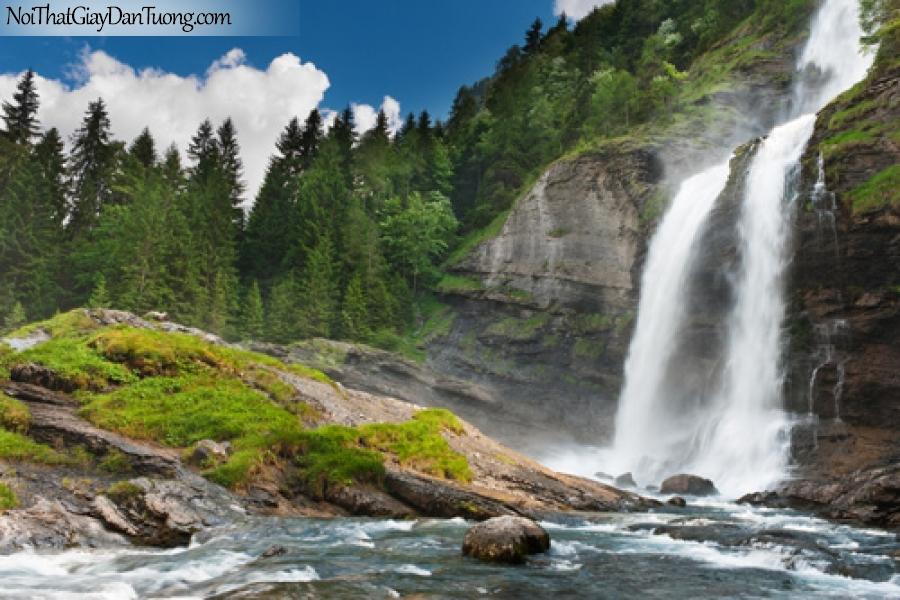 Tranh dán tường, vẻ đẹp hùng vĩ của thác nước từ trên núi cao xuống thung lũng DA3095