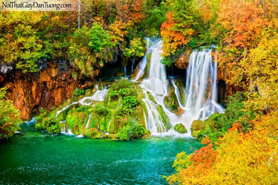 Tranh dán tường, vẻ đẹp nên thơ của thác nước giữa rừng mùa thu DA3091