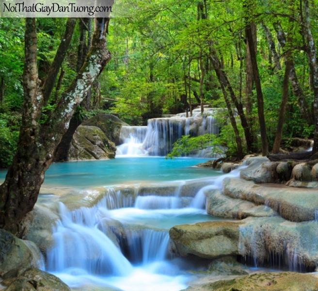 Tranh dán tường, vẻ đẹp nên thơ của thác nước giữa rừng cây DA3100