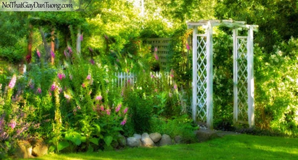 Tranh dán tường, cỏ cây hoa lá trong khu vườn phong cách sống thời hiên đại DA0500