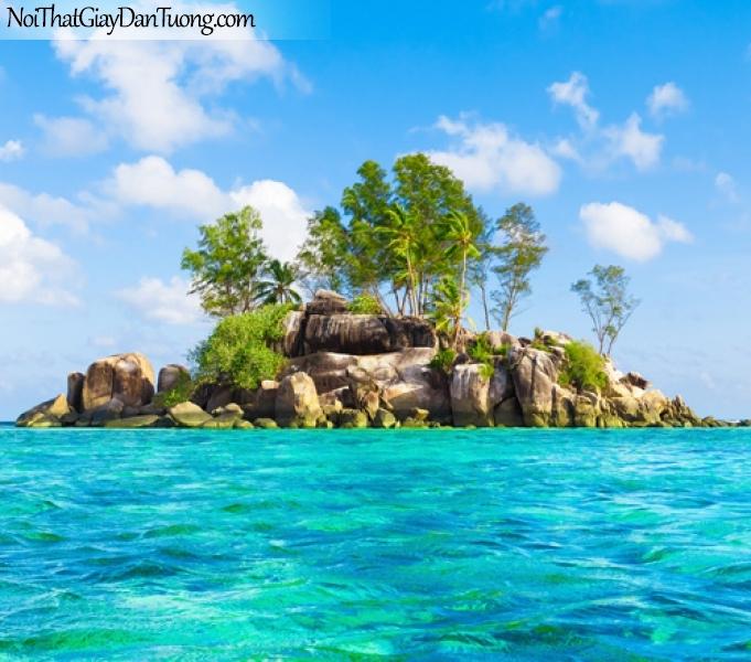 Tranh dán tường, bầu trời mặt biển va hòn đảo DA0513