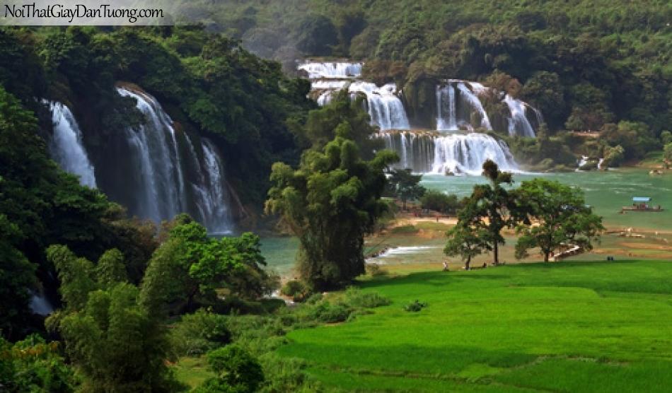 Tranh dán tường, 2 thác nước hùng vĩ cùng chảy vào thung lũng rộng lớn DA3116
