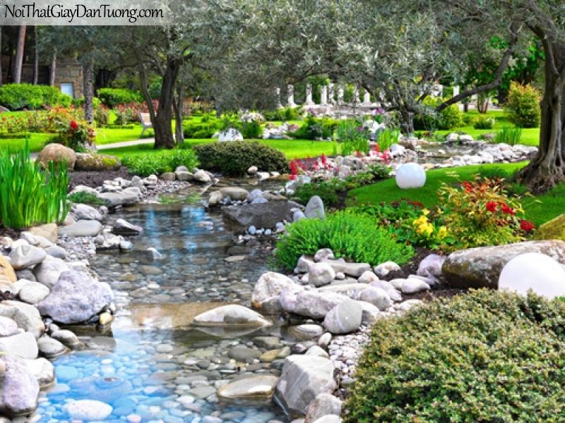 Tranh dán tường, con suối nhỏ trong công viên cây xanh và hoa DA0548