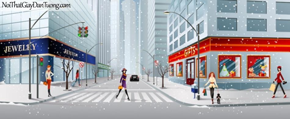 Tranh dán tường, mùa đông tuyết rời trên phố DA8010