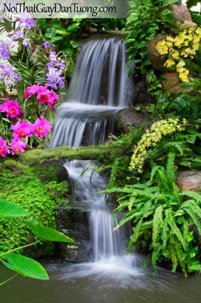 Tranh dán tường, muôn hoa khoe sắc bên thác nước chảy êm đềm DA3139