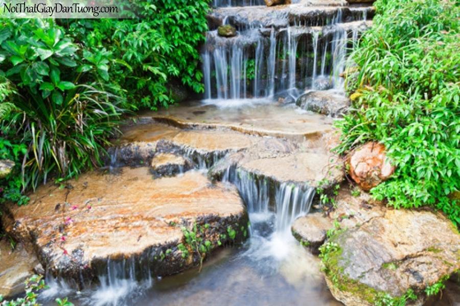 Tranh dán tường, những tảng đá lớn được thác nước bào mòn qua năm tháng giữa rừng xanh DA3109