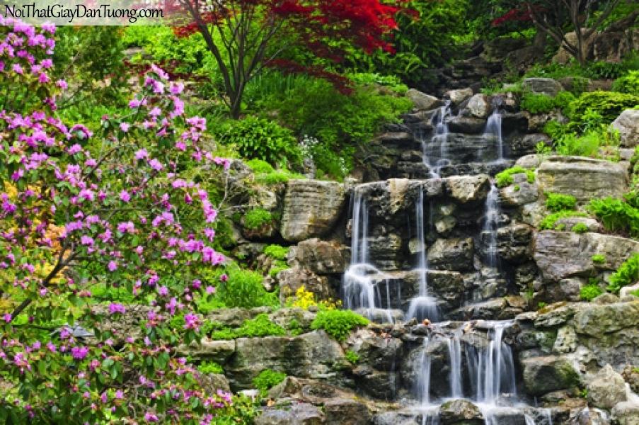 Tranh dán tường, thác nước chảy êm đềm giữa thung lũng tuyệt đẹp DA3104