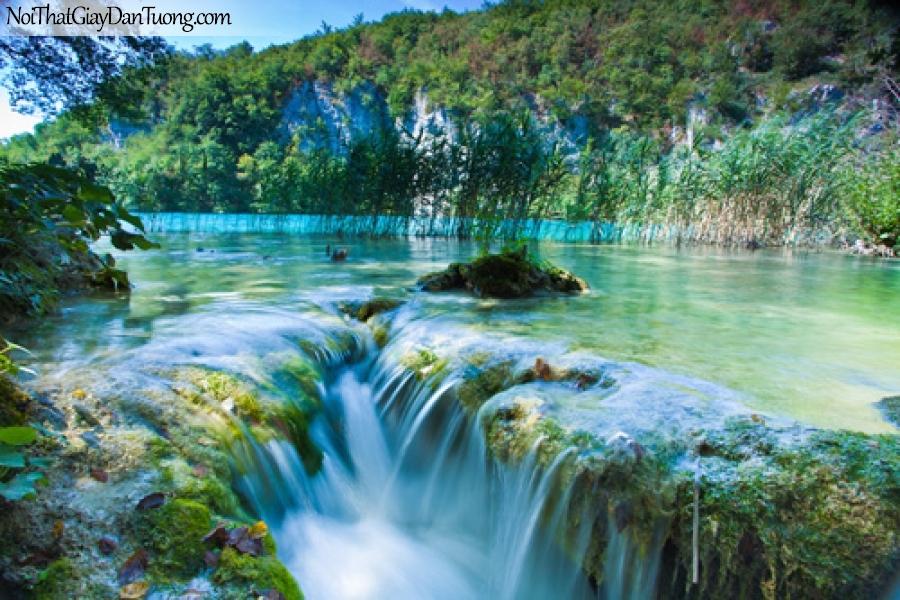 Tranh dán tường, thác nước chảy êm đềm giữa thung lung xanh DA3112