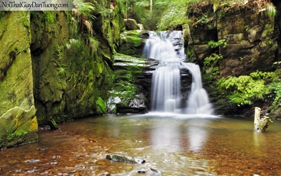 Tranh dán tường, thác nước chảy giữa rừng xanh qua những kẽ đá lớn DA3127