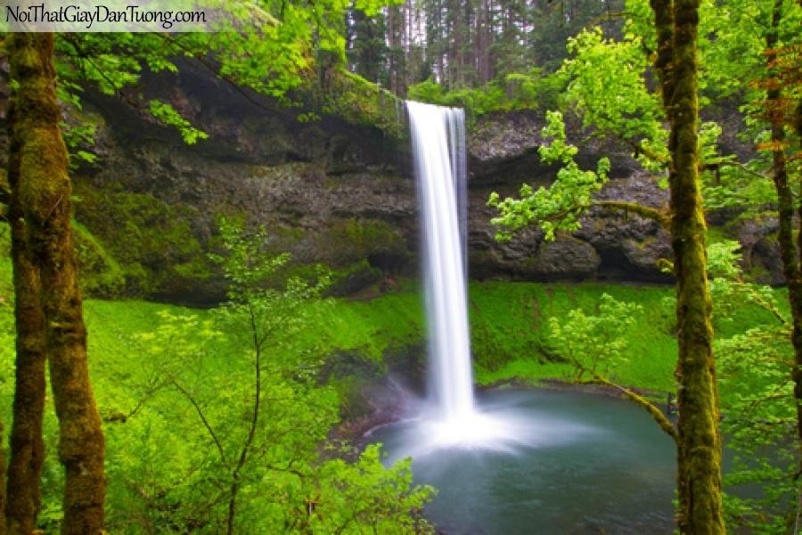 Tranh dán tường, thác nước chảy giữa rừng xuống thung lũng tuyệt đẹp DA3115