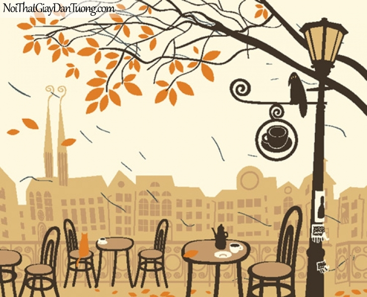 Tranh dán tường, uống cafe ngằm cảnh phồ DA8011