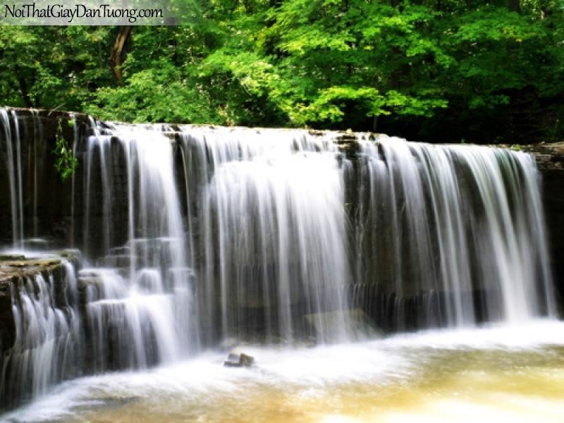 Tranh dán tường, vẻ đẹp của thác nước hùng vĩ với những dải nước trắng xóa chảy từ trên cao xuống DA3123