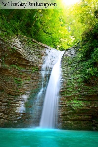 Tranh dán tường, vẻ đẹp hoàn mĩ của thác nước chảy từ rừng xanh xuống DA3113
