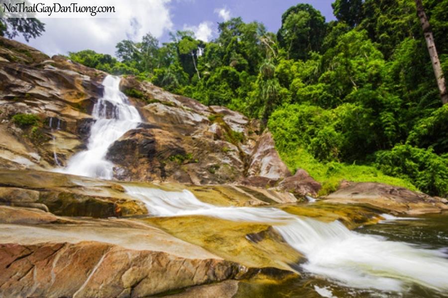 Tranh dán tường, vẻ đẹp hùng vĩ của thác nước chảy giữa rừng trên những đồi núi đá DA3132