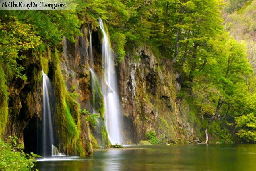 Tranh dán tường, vẻ đẹp hùng vĩ của thác nước chảy trên vực đá lớn xuống thung lũng DA3134