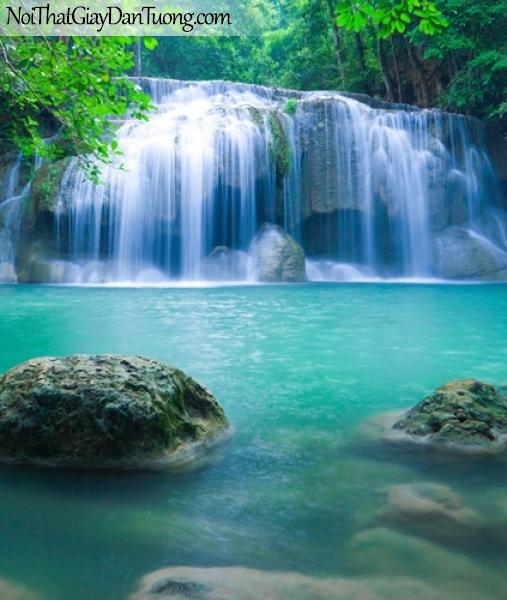 Tranh dán tường, vẻ đẹp mê hồn của những dải nước trắng xóa từ thác nước chảy từ trên cao xuống DA3119