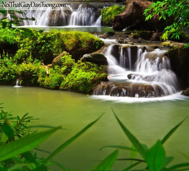 Tranh dán tường, vẻ đẹp mê hồn của thác nước chảy qua từng bậc đá DA3129