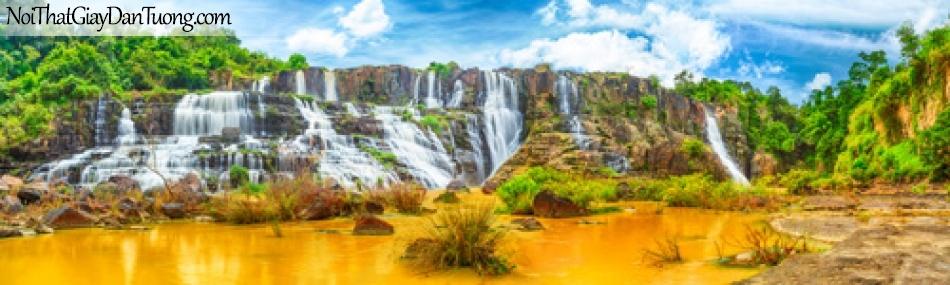 Tranh dán tường, vẻ đẹp nên thơ của những thác nước chảy trên những ngọn múi cao xuống DA3117