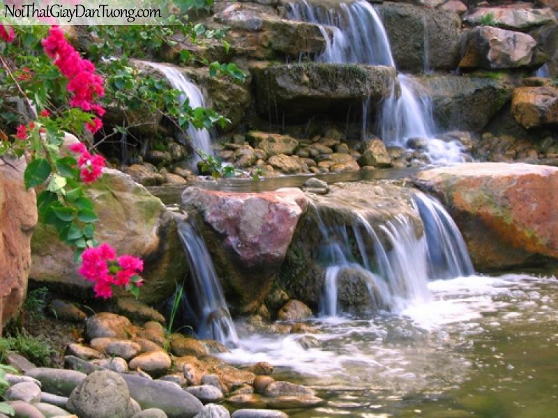 Tranh dán tường, vẻ đẹp thiên nhiên của thác nước chảy trên từng bậc đá DA3121