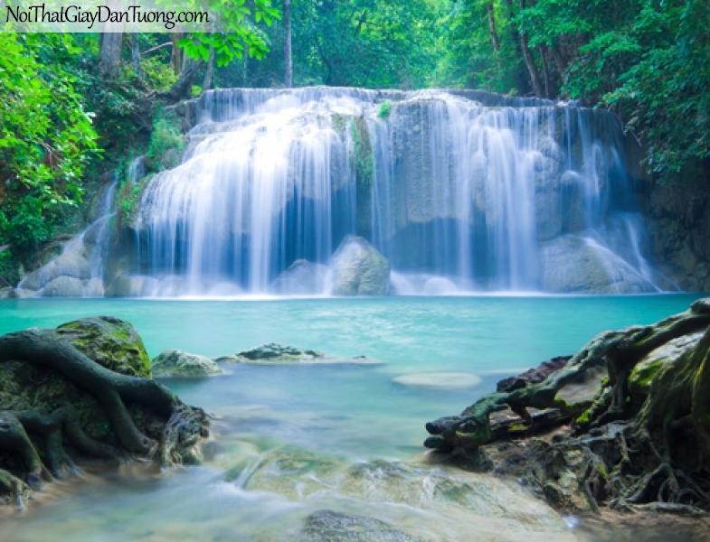 Tranh dán tường, vẻ đẹp tuyệt tác của thác nước chảy trên những mỏm đá lớn DA3120