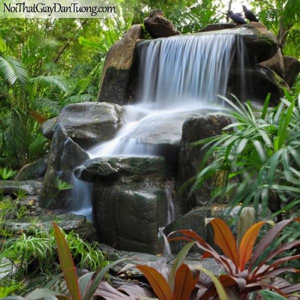 Tranh dán tường, vẻ đẹp tuyệt tác của thác nước chảy trên những mỏm đá thiên nhiên ban tặng DA3122